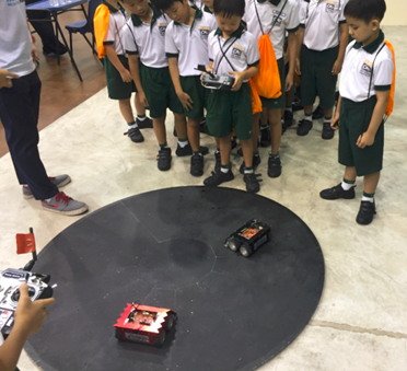 Students enjoy sumo robot.